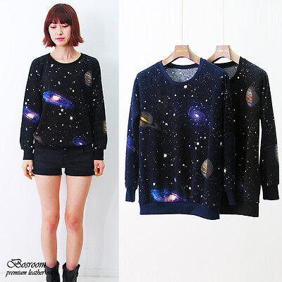 Women's galaxy space print long sleeve top round t-shirt BLACK/NAVY XS S M