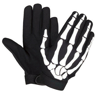BIKER MECHANIC GLOVES WITH SKELETON BONES DESIGN