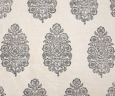 2½ Yards, Hand Block Print, Cotton. Natural Dyes. Artisan Fabric. Black & Beige