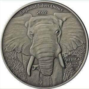 1000-Francs-Gabun-Elefant-2012-1-OZ-silver-Antique-finish