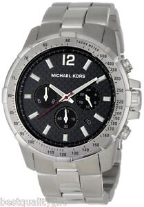 michael kors silver stainless steel chronograph black dial men image is loading michael kors silver stainless steel chronograph black dial