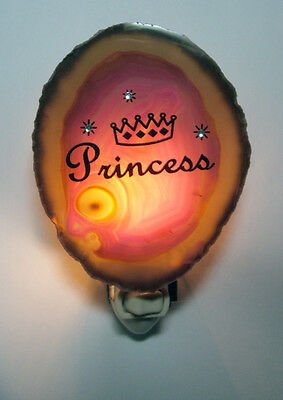 Nightlight PRINCESS on Pink Genuine Brazilian Agate Stone slice New #06