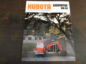 kubota kh 61 compact mini excavator brochure 1989 ebay. Black Bedroom Furniture Sets. Home Design Ideas