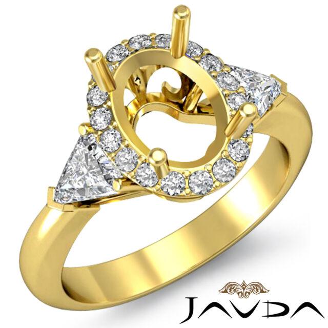 3 Stone Diamond Engagement Trillion Oval Mount Filigree Ring 18k Yellow Gold 1Ct