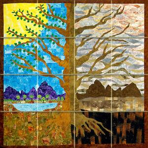 Art tree ceramic mural backsplash bath decor tile 817 ebay for Ceramic mural designs