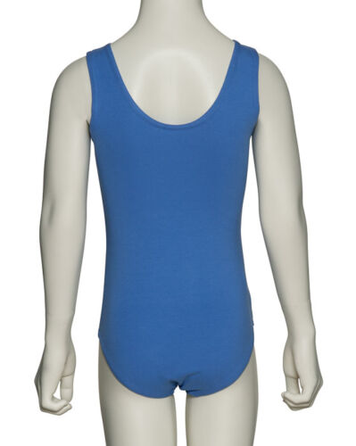 Girls Sky Blue Or Plum Ballet Sleeveless Cotton Leotard All Sizes KDC036 By Katz