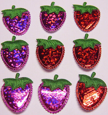 80 Cute Padded Shiny Strawberry Appliques for Cardmaking DIY