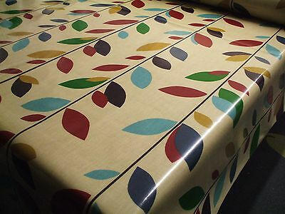 Cotton WIPE CLEAN Tablecloth Oilcloth PVC Jewel Leaves on Linen