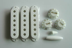 Strat-Knobs-Strat-Pickup-Covers-and-Tip-White-Set-NEW