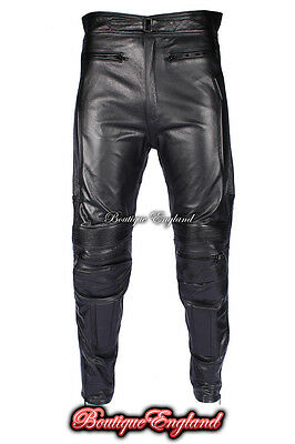 HIGHWAY Men's Black Real Genuine Hide Leather Motorcycle Biker Jeans Trouser