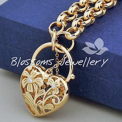 9K 9ct GOLD GF Belcher Link Heart Padlock BRACELET Swarovski Crystal S727-Large