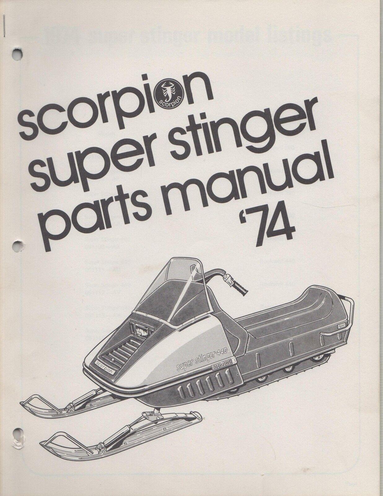 1974 SCORPION SUPER STINGER SNOWMOBILE PARTS MANUAL NEW