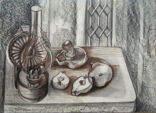 "HUMPHREY SPENDER Signed 1950 Original Ink & Conte Crayon ""Study for Still Life"""