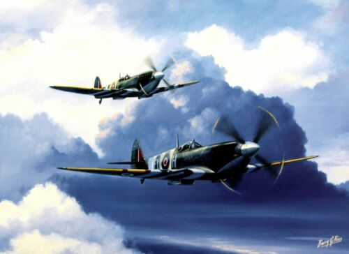 BEAUTIFUL AVIATION PRINT PICTURE PAINTING OF SPITFIRES ENTITLED SPITFIRE DUO