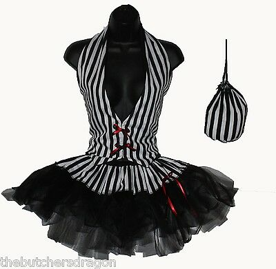 Halloween Vamp Burlesque Party Referee Black/White Stripe Tutu Skirt Set UK lot