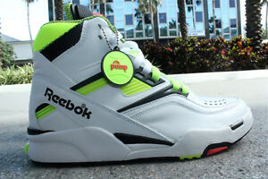 250-Men-039-s-Reebok-Twilight-Zone-Pump-White-Neon-Yellow-J10323-collection-instock