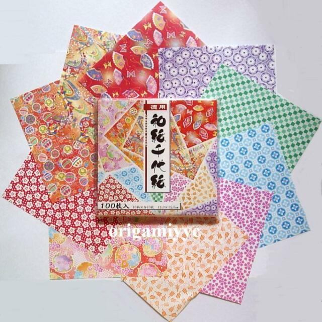 "100 Sheets Japanese Washi Chiyogami Origami Paper 15cm 6"" - Made in Japan"