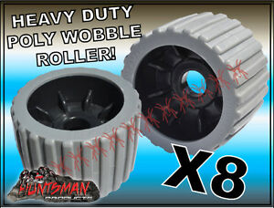 x8-BOAT-TRAILER-WOBBLE-ROLLERS-4-034-WITH-22MM-BORE-GREY-RIBBED-POLYURETHANE