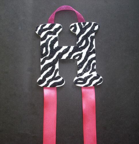 Zebra Print w// Pink Custom Monogram Hair Bow /& Barrette Holder