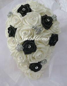 Image Is Loading Brides Bridesmaids Rose And Diamante Wedding Bouquet Black