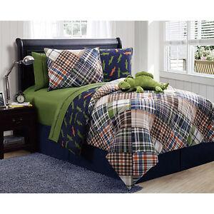 green blue orange plaid stripe alligator reversible comforter set boys twin size ebay. Black Bedroom Furniture Sets. Home Design Ideas