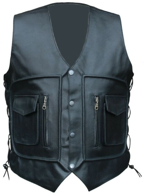 NEW MENS LEATHER WAIST COAT MOTORCYCLE LEATHER VEST WITH LACES XL