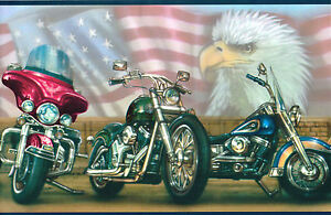 034-HARLEY-DAVIDSON-034-ALL-AMERICAN-FLAG-PLUS-EAGLE-Wallpaper-bordeR-Wall