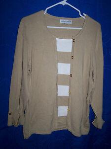 Womens-SAG-HARBOR-Tan-White-Faux-Cardigan-Sweater-Size-M