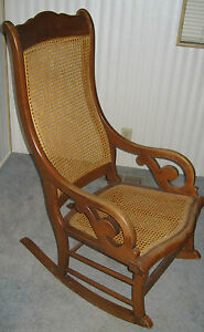 Vintage Cane Back Rattan Rocking Chair Rocker Famous