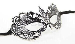 LASER-CUT-Venetian-Mask-Masquerade-Costume-BLACK-NEW-Fancy-Dress-Crystals-Cat
