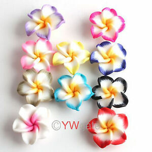 Various-Free-Ship-Polymer-Clay-Fimo-White-Petals-Plumeria-Flower-Beads-20mm