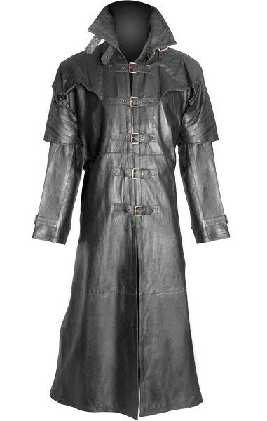 Mens  Pure LAMBS LEATHER Goth / Steampunk Gothic Van Helsing Matrix Trench Coat