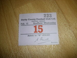 DERBY-v-SHEFFIELD-WED-Central-League-12-02-1955-Original-Football-Ticket