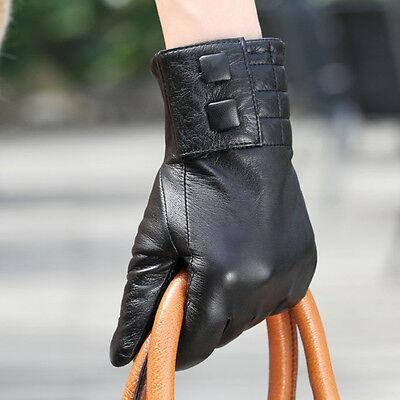 Women Genuine Nappa Leather Winter long fleece lined Gloves L015NC