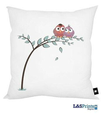 "LOVE BIRDS IN A TREE DESIGN 18"" X 18"" CUSHION VALENTINES DAY GIFT L&S PRINTS"