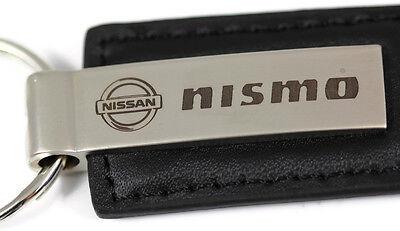 Nissan NISMO Logo Etched Keychain BLACK LEATHER Metal Keyring Lanyard