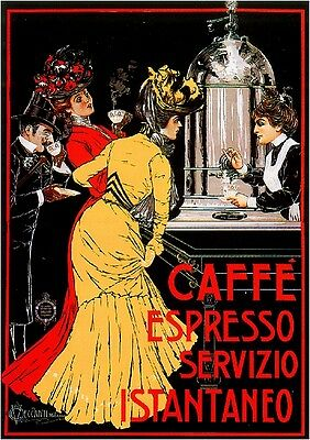 Early 1900's Caffe' Espresso Food & Wine Advertisement Art Poster Print