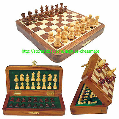 """NEW 7"""" HANDMADE TOP QUALITY MAGNETIC WOODEN CHESS SET- GIFT ITEM - FREE SHIPPING"""