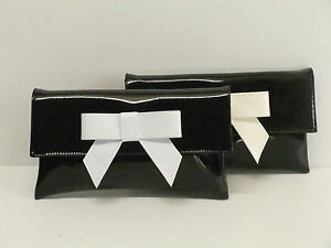 Image Is Loading Cute Black Faux Patent Leather Clutch Bag Shoulder