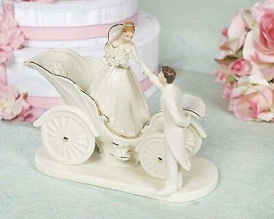 Porcelain Cinderella Fairy Tale Coach Wedding Cake Topper Figurine