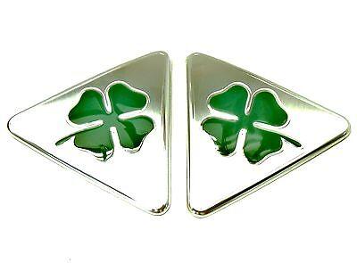 pair of brand new genuine Alfa Romeo Giulietta green cloverleaf wing badges