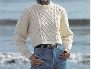 Ladies Aran cotton crop sweater Knitting pattern- Lovely winter pattern- To K...