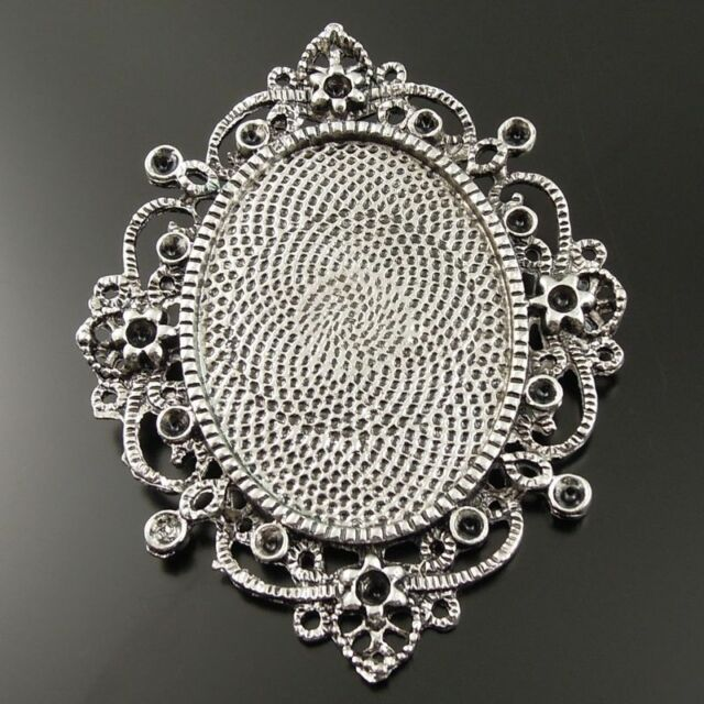Antique Silver Tone Alloy Oval Cameo Setting Tray 40*30mm Pendant Charm 5pcs