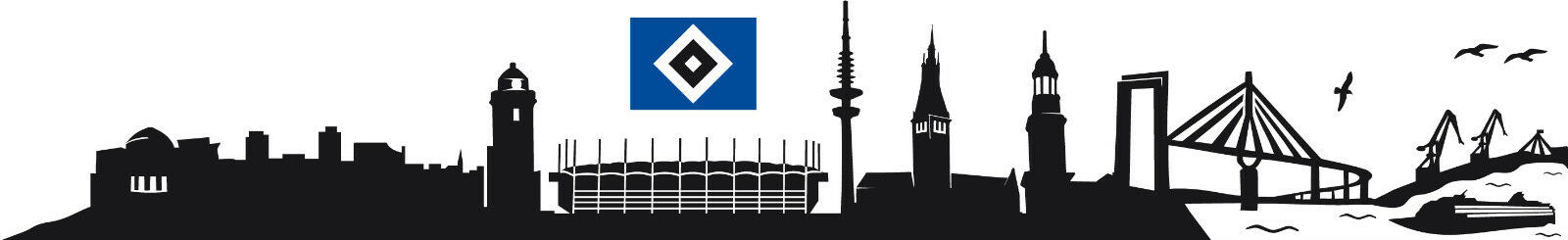 WANDTATTOOS WANDTATTOOS WANDTATTOOS HAMBURGER SV Bundesliga Sport Fussball HSV Fan Raute Dino Skyline be0db0