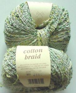 ROWAN-COTTON-BRAID-Knitting-Yarn-1-BALL-RENOIR-GREENS