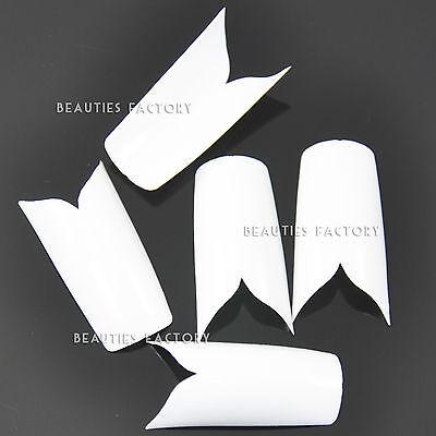500 x White Colour Pre Designed V Shape Surface False Nail Tips #431C