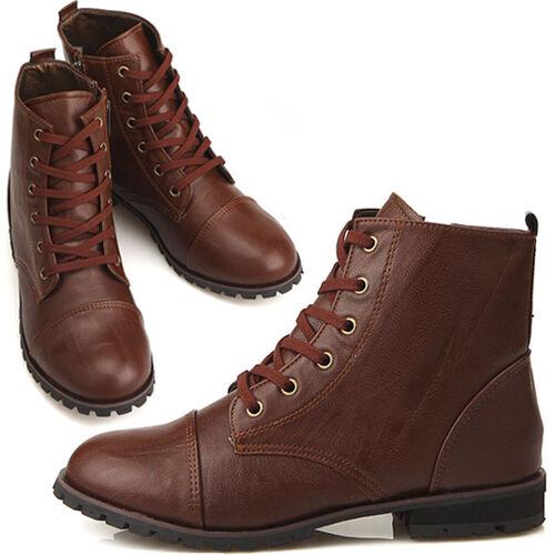 New Womens Comfort Low Heels Zip Ankle Boots Shoes Brown