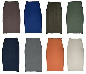 WOMENS-PLUS-SIZE-LONG-STRETCH-PENCIL-SKIRT-PONTEROMA-BLUE-GREEN-BROWN-RUST