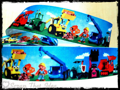 "BOB The Builder  RIBBON. 1"" Grosgrain.  Scrapbooking/Craft.  Scoop, Rolly, Dizzy"