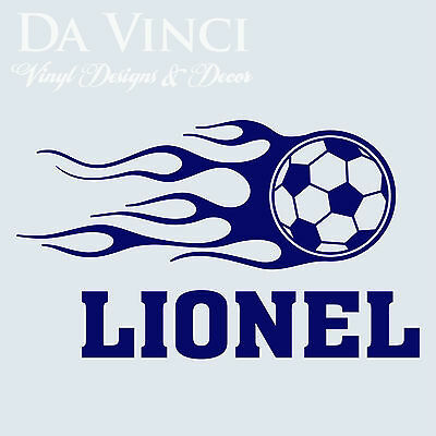Personalized Boy Name Soccer Ball Fire Vinyl Sticker Wall Decal Decoration